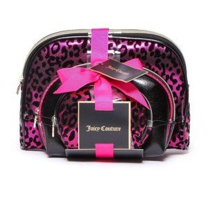 Juicy Couture 3-Piece Metallic Cosmetic Bag Set